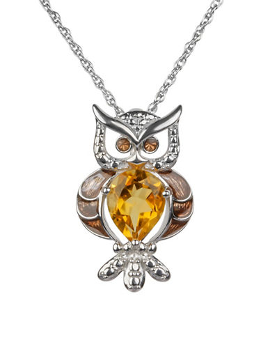 Finecraft Ii Citrine and Sterling Silver Owl Pendant Necklace-BROWN-One Size