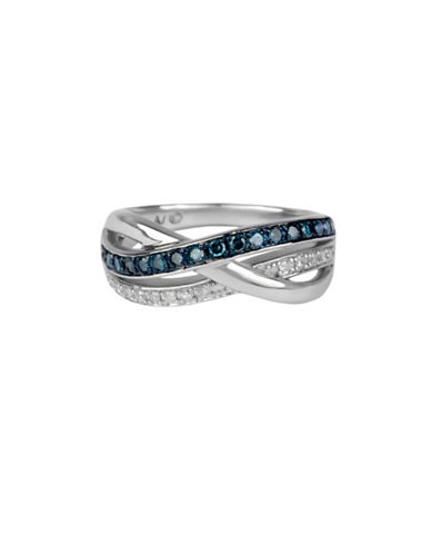 Finecraft Ii Blue Diamond and Sterling Silver Ring-BLUE-One Size