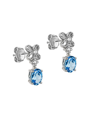 Finecraft Ii Blue Topaz and Sterling Silver Earrings with 0.04 TCW Diamonds-BLUE-One Size