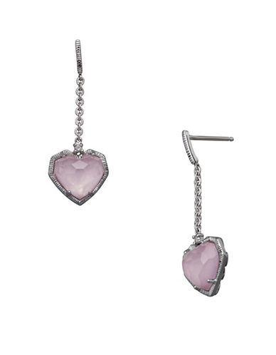 Finecraft Ii Rose Quartz Heart Drop Earrings-PINK-One Size