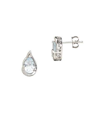 Finecraft Ii Aquamarine Teardrop Earrings with 0.012 TCW Diamonds-LIGHT BLUE-One Size