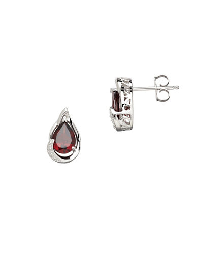 Finecraft Ii Garnet Teardrop Earrings with 0.012 TCW Diamonds-RED-One Size