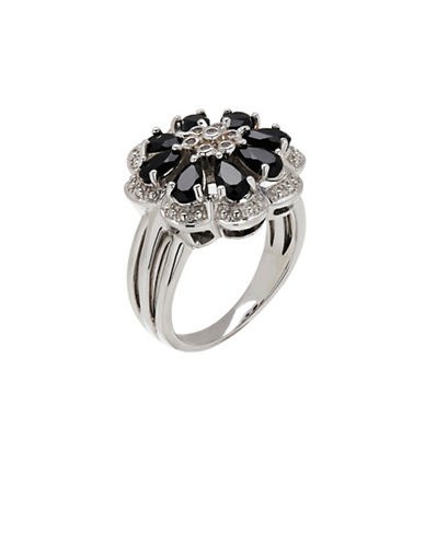 Finecraft Ii Onyx Sterling Silver Flower Ring-SILVER-One Size