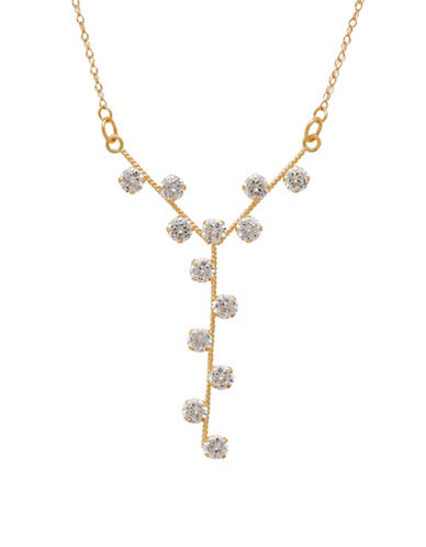 Fine Jewellery 14k Yellow Pave Y-Drop Necklace-GOLD-One Size