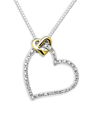Fine Jewellery 14KT Yellow Gold and Sterling Silver 0.10 TCW Diamond Heart Pendant Necklace-SILVER-One Size