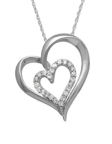 Fine Jewellery 0.10 TCW Diamond Sterling Silver Heart Pendant Necklace-WHITE-One Size