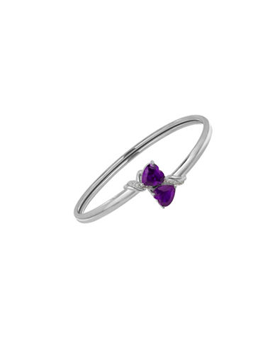 Fine Jewellery Sterling Silver Amethyst and White Topaz Heart Bangle-AMETHYST-One Size