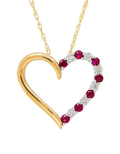 Fine Jewellery 14K Goldplated Sterling Silver 0.018 TCW Diamond and Ruby Heart Pendant Necklace-RUBY-One Size