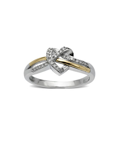 Fine Jewellery 14KT Yellow Gold and Sterling Silver 0.10 TCW Diamond Heart Ring-SILVER-7