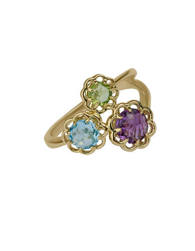 Fine Jewellery Swiss Blue, Amethyst, Peridot and 14K Yellow Gold Flower Ring-MULTI-7
