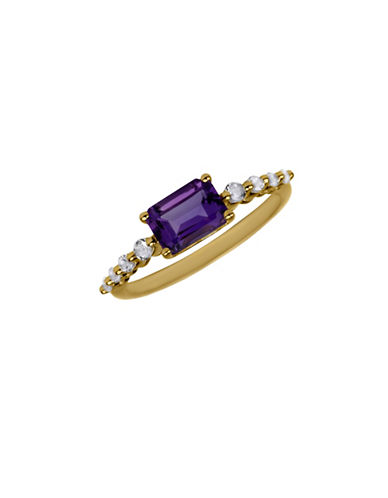 Fine Jewellery 14K Yellow Gold Ring with Topaz and Amethyst-PURPLE-7
