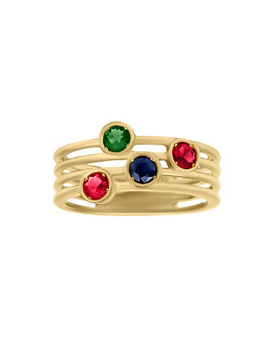 Fine Jewellery 14K Yellow Gold, Genuine Ruby, Emerald, and Sapphire Ring-MULTI-7