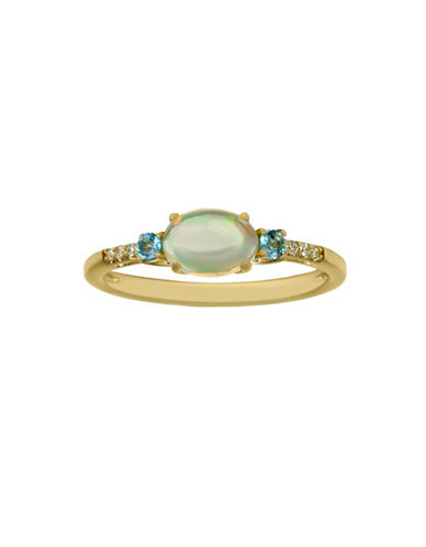 Fine Jewellery Diamonds, 14K Yellow Gold, Opal and Blue Topaz Ring-BLUE-7