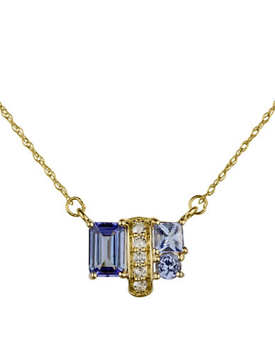 Fine Jewellery 14K Yellow Gold Pendant Necklace with Topaz and Tanzanite-PURPLE-One Size