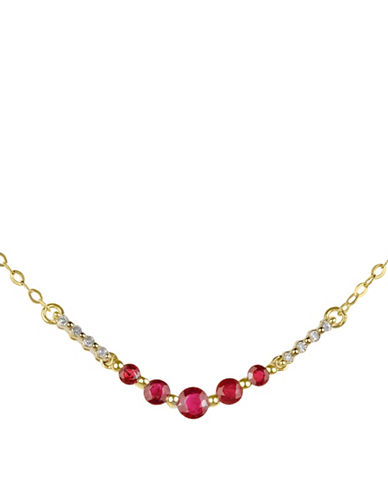 Fine Jewellery Ruby and 14K Yellow Gold Necklace with 0.04 TCW Diamonds-RUBY-One Size