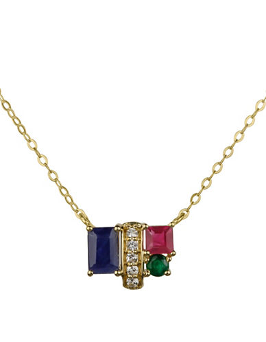 Fine Jewellery 14K Yellow Gold Necklace with Ruby, Emerald and Sapphire-MULTI-One Size