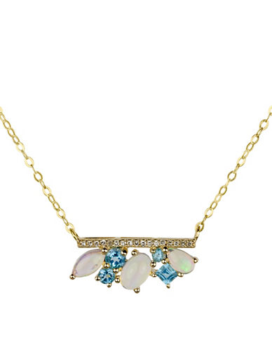 Fine Jewellery 14K Yellow Gold Necklace with Opal, Swiss Blue and 0.05TCW Diamond-MULTI-One Size
