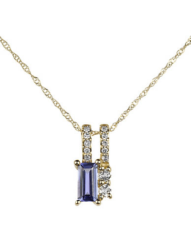 Fine Jewellery 14K Yellow Gold Pendant Necklace with Topaz, Tanzanite and 0.05 TCW Diamonds-PURPLE-One Size