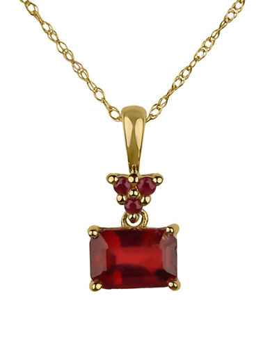 Fine Jewellery 14K Yellow Gold Necklace with Ruby Pendant-RED-One Size