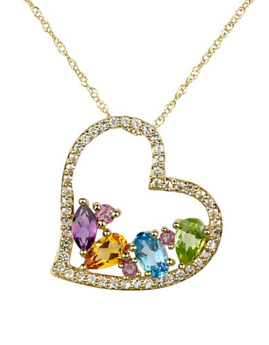 Fine Jewellery 14K Yellow Gold Pendant Necklace with Multiple Faceted Stones-MULTI-One Size