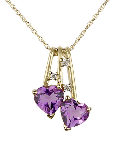 Fine Jewellery 14K Yellow Gold Heart Pendant Necklace with 0.24TCW Diamonds-PURPLE-One Size