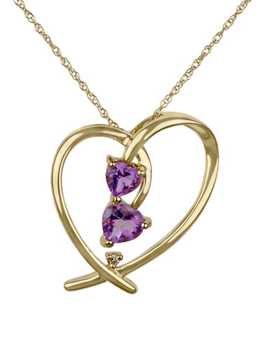 Fine Jewellery 14K Yellow Gold Pendant Necklace with Amethyst and 0.008TCW Diamonds-PURPLE-One Size