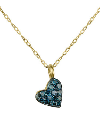 Fine Jewellery 14K Yellow Gold Heart Pendant Necklace with 0.10 TCW Teal Diamonds-TEAL-One Size