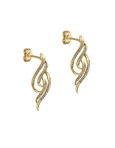 Fine Jewellery 14K Yellow Gold Twist Earrings with 0.16 TCW Diamonds-GOLD-One Size