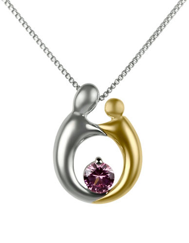Fine Jewellery Mother and Child Pendant Necklace-PINK-One Size