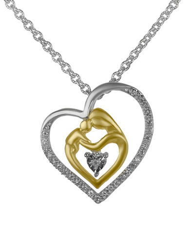 Fine Jewellery Mother and Child Heart 0.10TCW Diamond Pendant Necklace-TWO-TONE-One Size