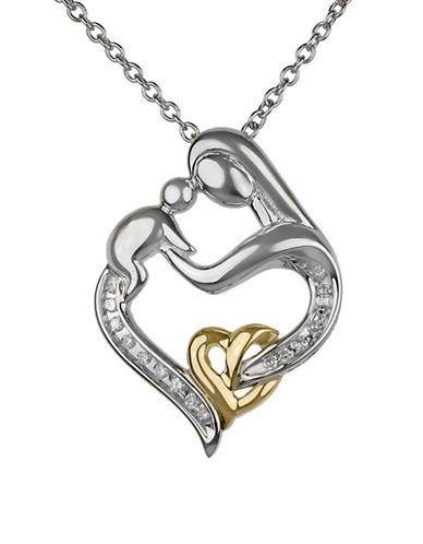 Fine Jewellery 14K Two-Tone Gold Mother and Child Pendant Necklace with 0.10 TCW Diamonds-SILVER-One Size