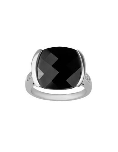 Fine Jewellery Sterling Silver Onyx Ring with 0.12 TCW Diamonds-BLACK-7