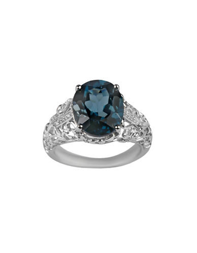 Fine Jewellery Blue Topaz and Diamond Accent Ring-BLUE-7