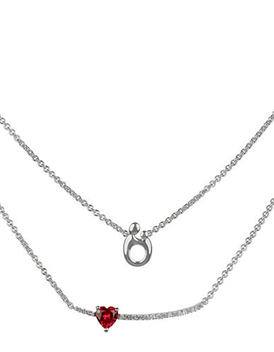 Fine Jewellery Sterling Silver Heart Necklace-RED-One Size