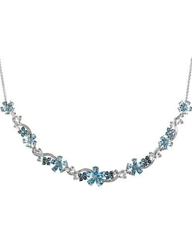 Fine Jewellery Blue and White Topaz Flower Necklace-BLUE TOPAZ-One Size