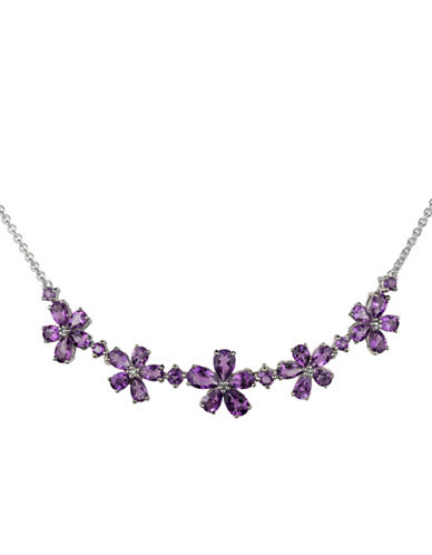 Fine Jewellery Diamond Accent Amethyst Flower Necklace-PURPLE-One Size
