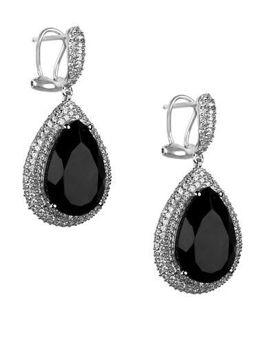 Fine Jewellery Sterling Silver Onyx Teardop Earrings-BLACK-One Size