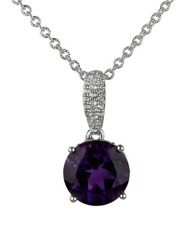 Fine Jewellery Amethyst Pendant Necklace-PURPLE-One Size