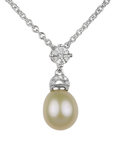 Fine Jewellery 8MM-8.5MM Off-White Oval Freshwater Pearl and Sterling Silver Necklace with 0.6 TCW Diamonds-PEARL-One Size