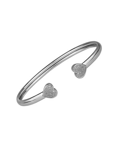 Fine Jewellery Sterling Silver Heart Bangle Bracelet with 0.10 TCW Diamonds-SILVER-One Size