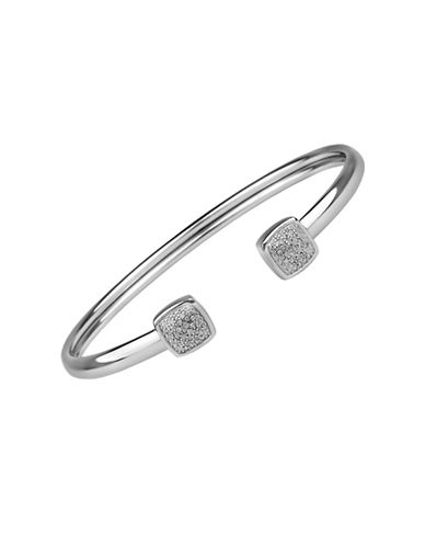 Fine Jewellery Sterling Silver Cushion Bangle Bracelet with 0.10 TCW Diamonds-SILVER-One Size