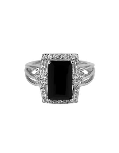 Fine Jewellery Square Sterling Silver Onyx Ring-BLACK-7