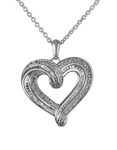 Fine Jewellery 0.25 TCW Diamond Heart Pendant Necklace-SILVER-One Size