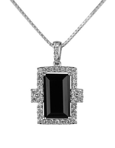 Fine Jewellery Onyx and Sterling Silver Pendant Necklace-ONYX-One Size