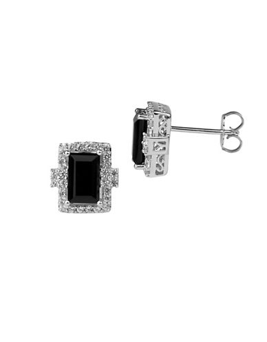 Fine Jewellery Onyx and Sterling Silver Earrings-ONYX-One Size