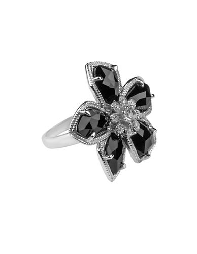 Fine Jewellery Diamonds and Sterling Silver Onyx Ring-ONYX-7