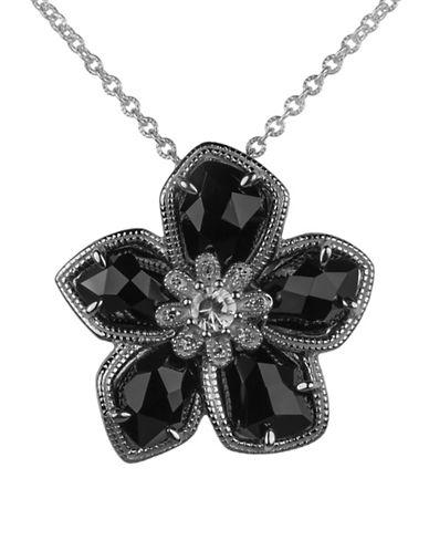 Fine Jewellery 0.04 TCW Diamond Onyx Flower Pendant Necklace-BLACK-One Size