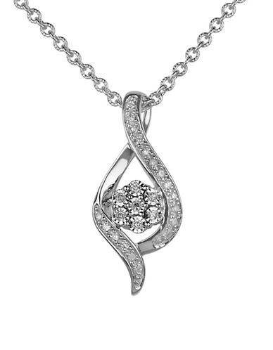 Fine Jewellery Sterling Silver Twisted Pendant Necklace 0.10 TCW Diamonds-SILVER-One Size