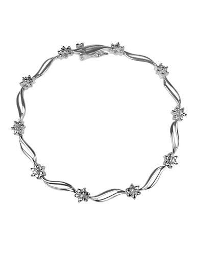 Fine Jewellery Station Sterling Silver Bracelet with 0.018tcw Semi Hollow Diamonds-SILVER-One Size