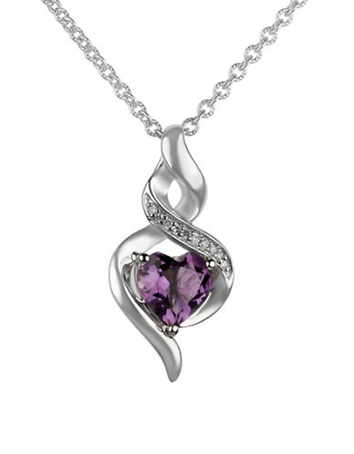 Fine Jewellery 0.03 TCW Diamond Amethyst Twist Pendant Necklace-PURPLE-One Size